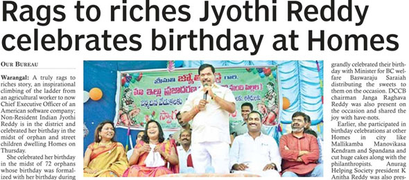 Rags to riches Jyorhi Reddy celebrates birthday at Homes